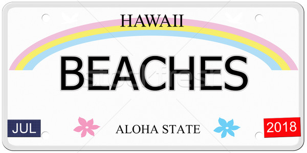 Stranden Hawaii kentekenplaat geschreven imitatie aloha Stockfoto © mybaitshop