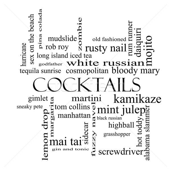 Photo stock: Cocktails · nuage · de · mots · blanc · noir · magnifique · martini · plage