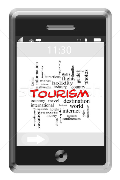 Tourism Word Cloud Concept on a Touchscreen Phone Stock photo © mybaitshop