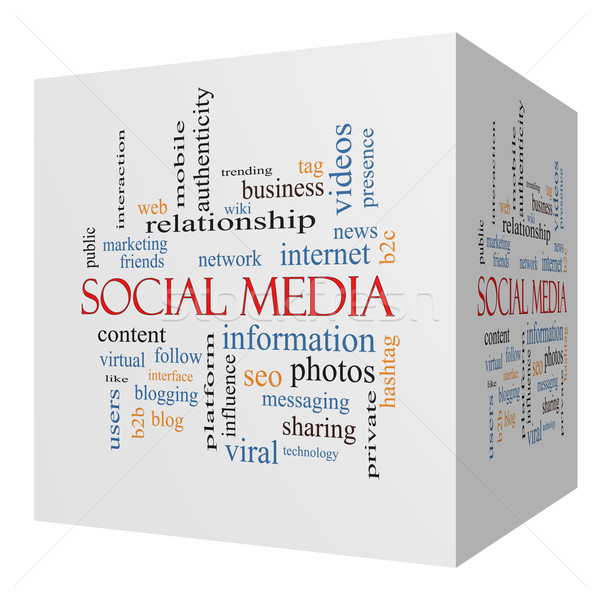 Social Media 3D cube Word Cloud Concept Stock photo © mybaitshop