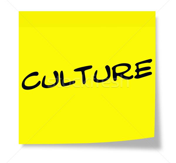 Cultura nota pegajosa escrito papel amarelo Foto stock © mybaitshop