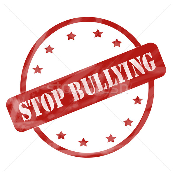 Red Weathered Stop Bullying Stamp Circle and Stars Stock photo © mybaitshop