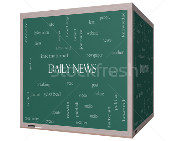 Daily News Word Cloud Concept on a 3D cube Blackboard Stock photo © mybaitshop