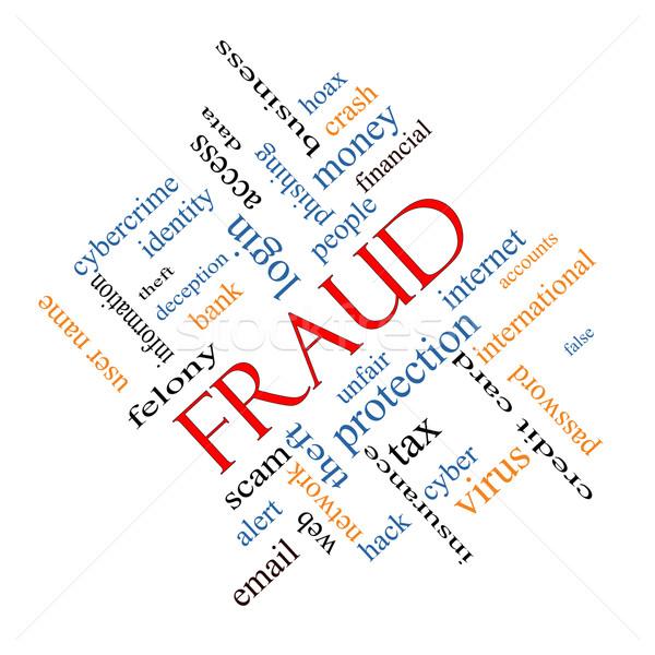 Bedrog woordwolk groot alarm identiteitsdiefstal meer Stockfoto © mybaitshop
