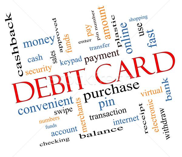 Tarjeta de débito nube de palabras efecto pago pin Foto stock © mybaitshop