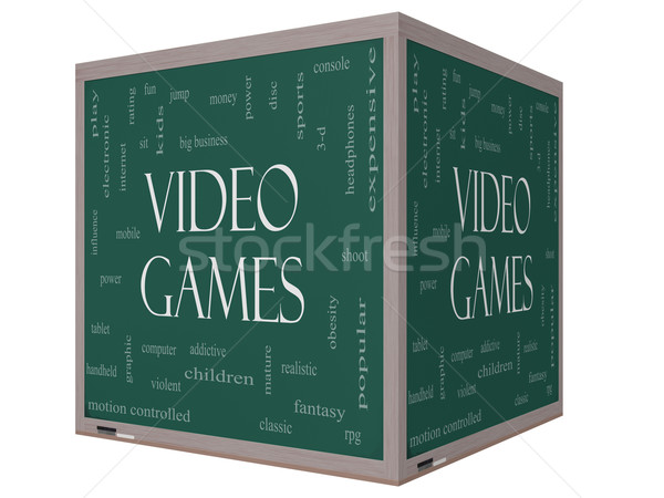 Video Games Word Cloud Concept on a 3D cube Blackboard Stock photo © mybaitshop