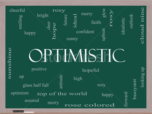 Optimistic Word Cloud Concept on a Blackboard Stock photo © mybaitshop