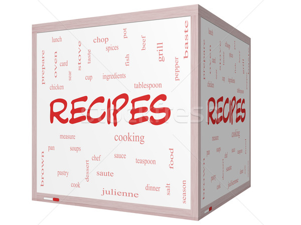 Stock photo: Recipes Word Cloud Concept on a 3D cube Whiteboard