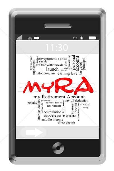 myRA Word Cloud Concept on Touchscreen Phone Stock photo © mybaitshop