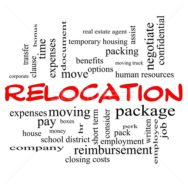Relocation Word Cloud Concept in red caps Stock photo © mybaitshop
