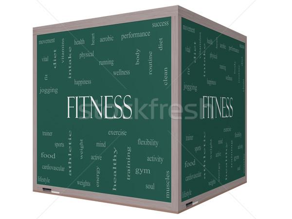 Сток-фото: фитнес · слово · облако · 3D · куб · доске