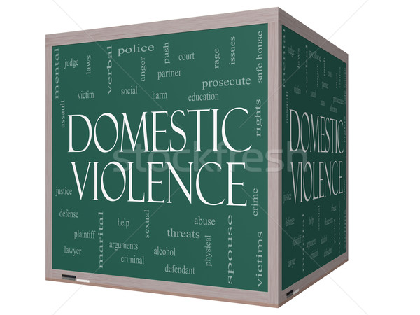 Domestic Violence Word Cloud Concept on a 3D cube Blackboard Stock photo © mybaitshop