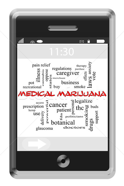 Medical Marijuana Word Cloud Concept on Touchscreen Phone Stock photo © mybaitshop