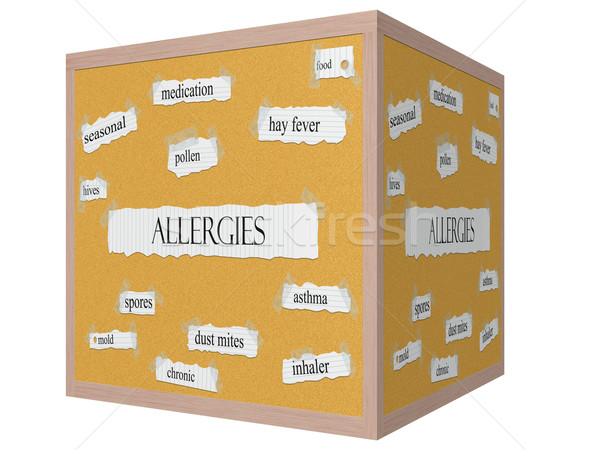 Allergies 3D cube Corkboard Word Concept Stock photo © mybaitshop