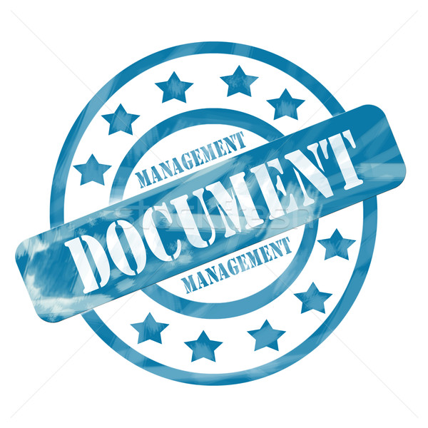 Blue Weathered Document Management Stamp Circles and Stars Stock photo © mybaitshop