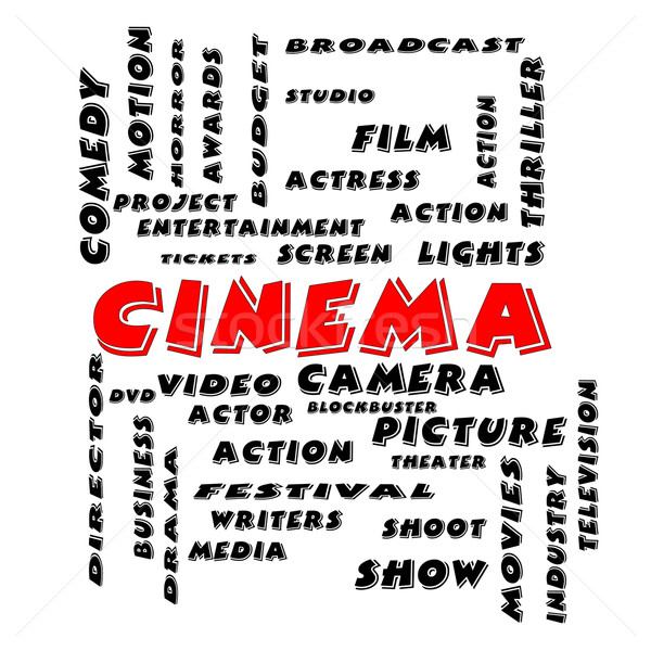 Cinema Word Cloud Concept in Bold Letters Stock photo © mybaitshop