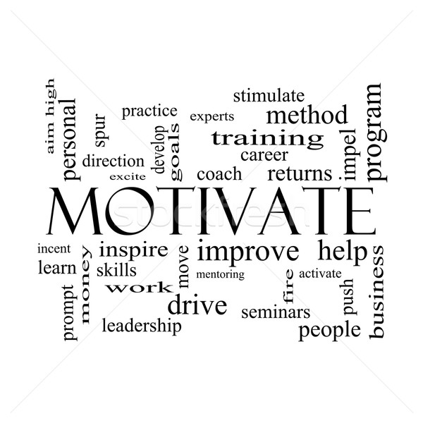 Motivate Word Cloud Concept in black and white Stock photo © mybaitshop