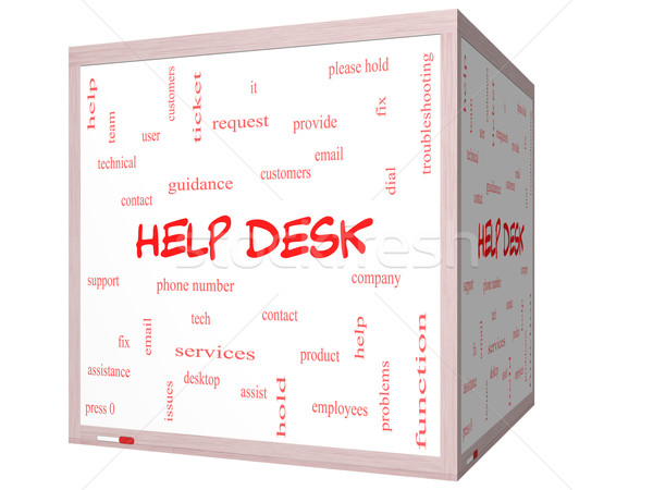 Foto d'archivio: Help · desk · word · cloud · 3D · cubo
