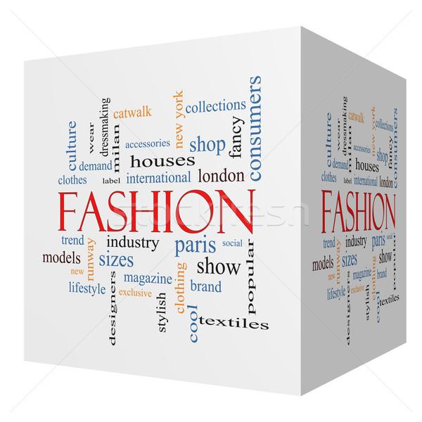 Fashion 3D cube Word Cloud Concept Stock photo © mybaitshop