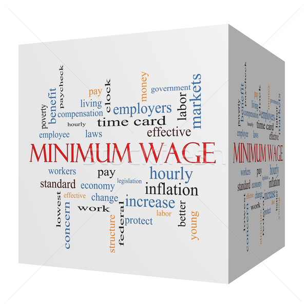 Minimum Wage 3D cube Word Cloud Concept Stock photo © mybaitshop