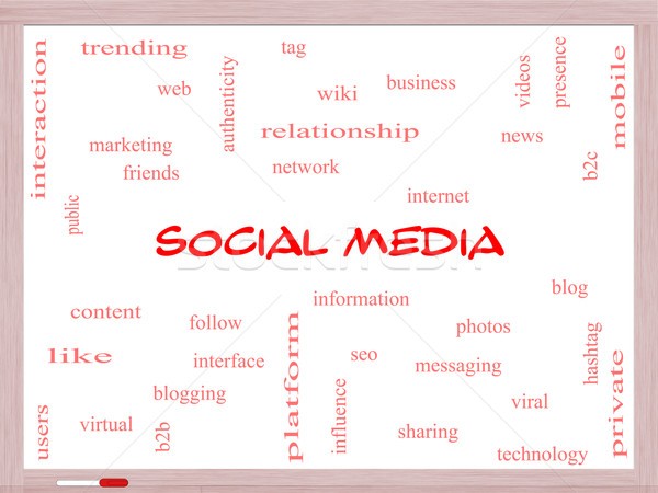 Social Media Word Cloud Concept on a Whiteboard Stock photo © mybaitshop