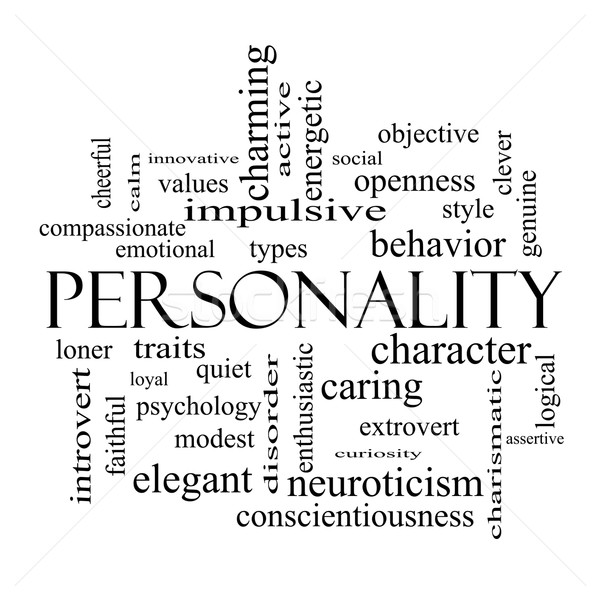 Personality Word Cloud Concept in black and white Stock photo © mybaitshop