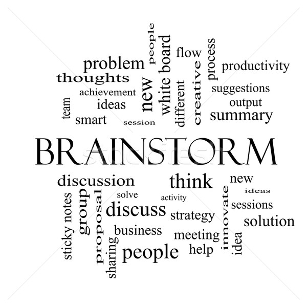 Brainstorm Word Cloud Concept in black and white Stock photo © mybaitshop