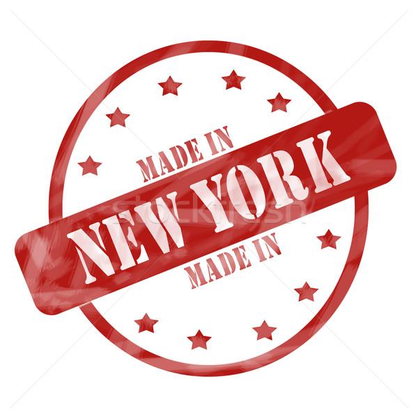 Rouge patiné New York tampon cercle étoiles Photo stock © mybaitshop