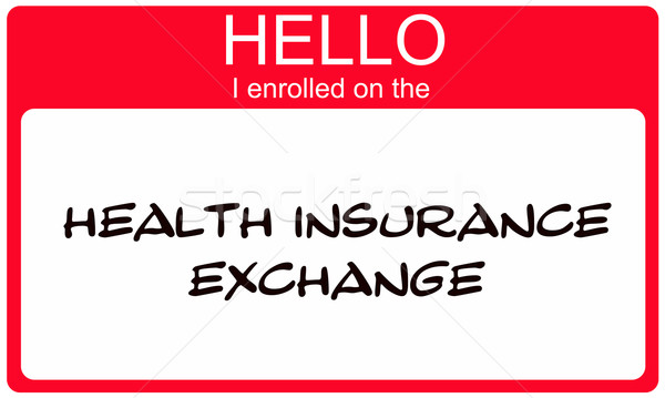 Hello I Enrolled on the Health Insurance Exchange red name tag Stock photo © mybaitshop