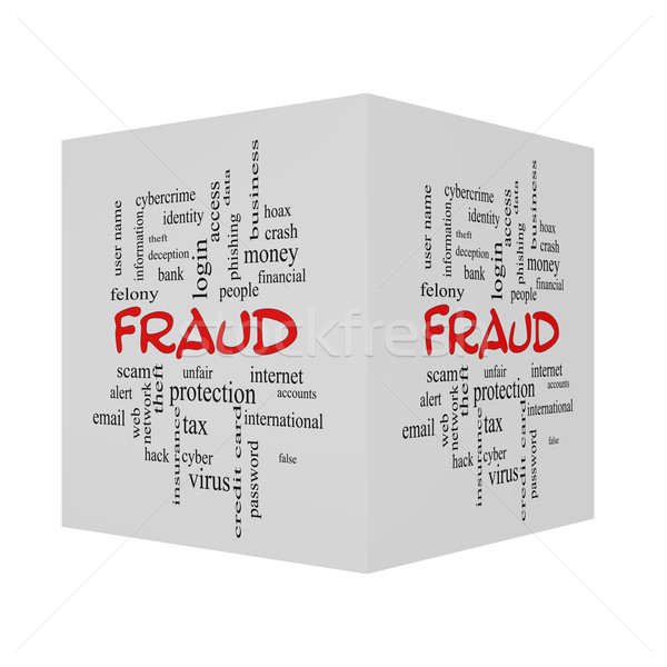 Fraud 3D Word Cloud Concept in red caps Stock photo © mybaitshop