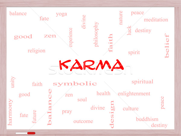 Karma Word Cloud Concept on a Whiteboard Stock photo © mybaitshop