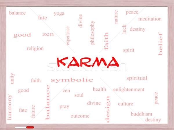 Karma szófelhő tábla nagyszerű egyensúly jóga Stock fotó © mybaitshop