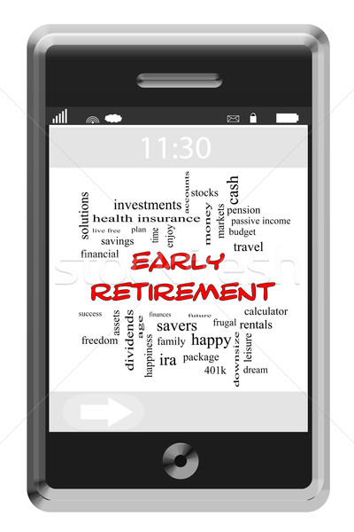 Early Retirement Word Cloud Concept on a Touchscreen Phone Stock photo © mybaitshop