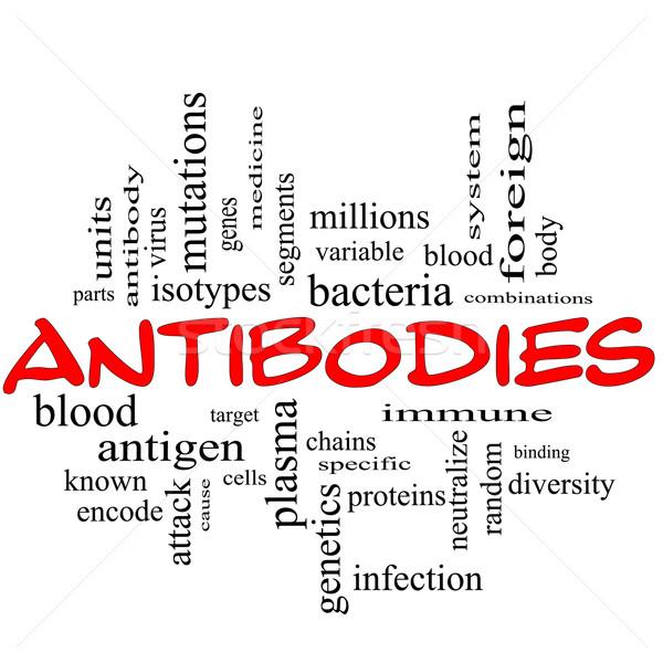 言葉の雲 赤 細菌 プラズマ 遺伝学 ストックフォト © mybaitshop