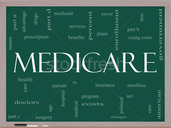 Medicare Word Cloud Concept on a Blackboard Stock photo © mybaitshop