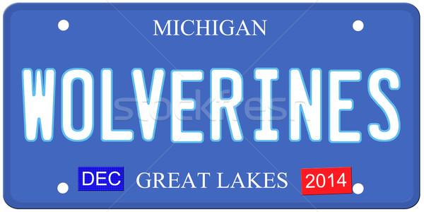 Stock fotó: Michigan · utánzás · rendszámtábla · december · 2014 · matricák
