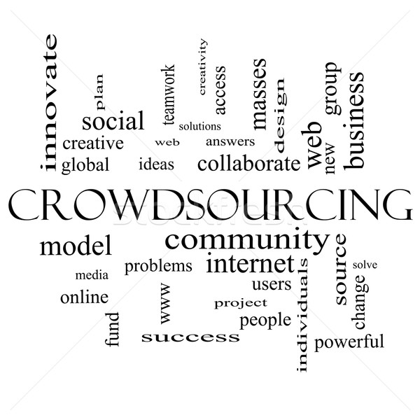 Crowdsourcing Word Cloud Concept in black and white Stock photo © mybaitshop