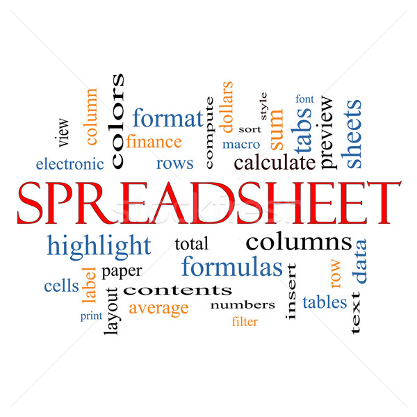 Spreadsheet Word Cloud Concept Stock photo © mybaitshop
