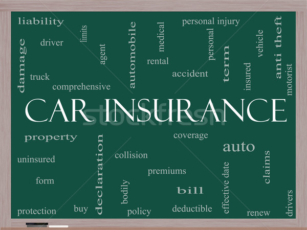Car Insurance Word Cloud Concept on a Blackboard Stock photo © mybaitshop