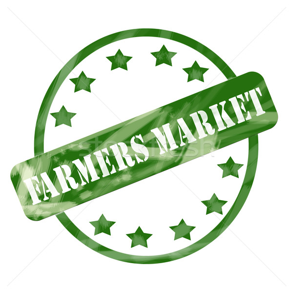 Green Weathered Farmers Market Stamp Circle and Stars Stock photo © mybaitshop