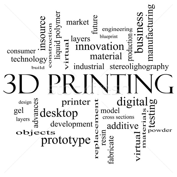 3D Printing Word Cloud Concept in black and white Stock photo © mybaitshop