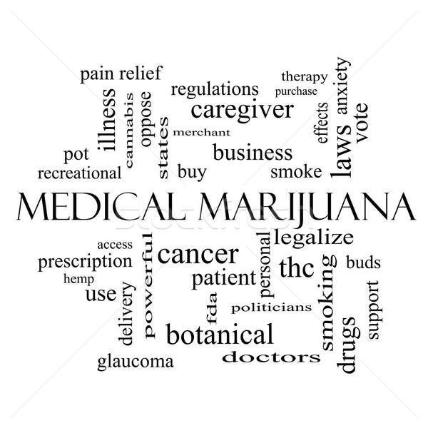 Medical Marijuana Word Cloud Concept in black and white Stock photo © mybaitshop