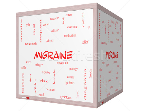 Migraine Word Cloud Concept on a 3D cube Whiteboard Stock photo © mybaitshop