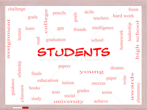Students Word Cloud Concept on a Whiteboard Stock photo © mybaitshop