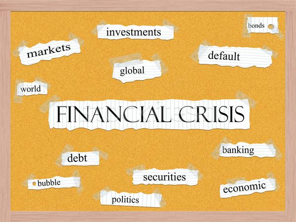Crisi finanziaria parola mercati mondo globale Foto d'archivio © mybaitshop