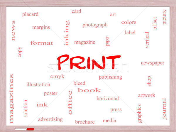 Print Word Cloud Concept on a Whiteboard Stock photo © mybaitshop