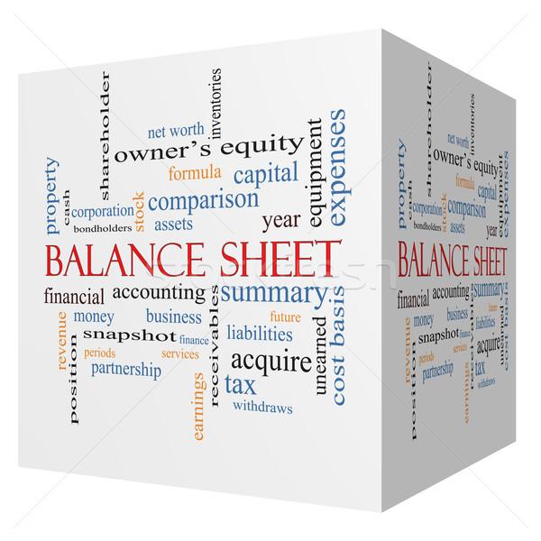 Balance Sheet 3D cube Word Cloud Concept Stock photo © mybaitshop