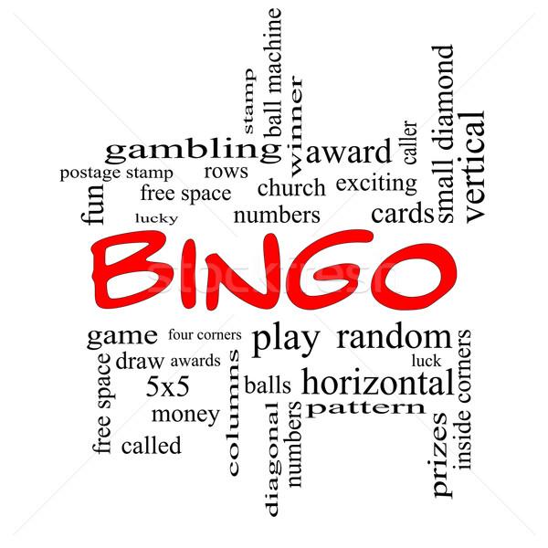 Bingo Word Cloud Concept in Red Caps Stock photo © mybaitshop