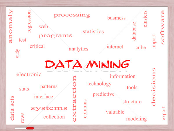 Data Mining Word Cloud Concept on a Whiteboard Stock photo © mybaitshop