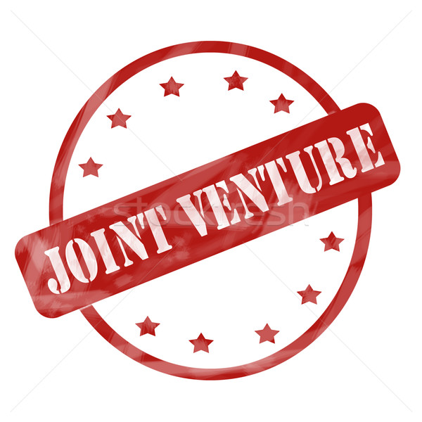 Red Weathered Joint Venture Stamp Circle and Stars Stock photo © mybaitshop